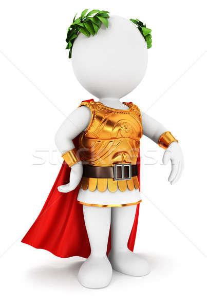 3D pessoas brancas romano imperador isolado branco Foto stock © 3dmask