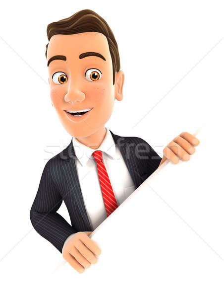 3d businessman behind diagonal wall Stock photo © 3dmask