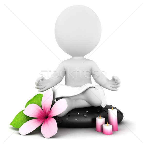 3d white people meditation Stock photo © 3dmask
