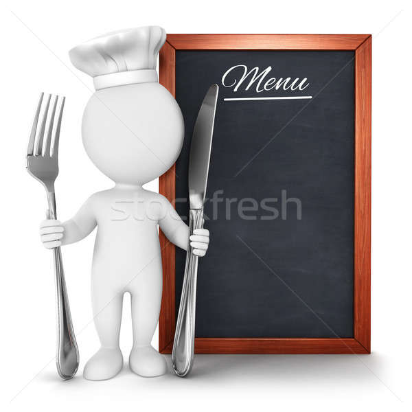 3d white people chef with menu Stock photo © 3dmask