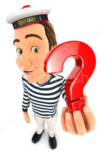 3d seaman holding a question mark icon Stock photo © 3dmask