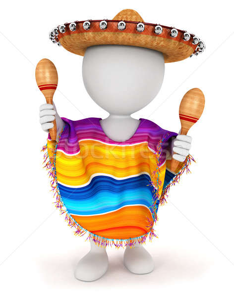 3D blancs mexican sombrero jouer isolé Photo stock © 3dmask