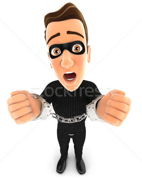 Stock photo: 3d thief under arrest and handcuffed