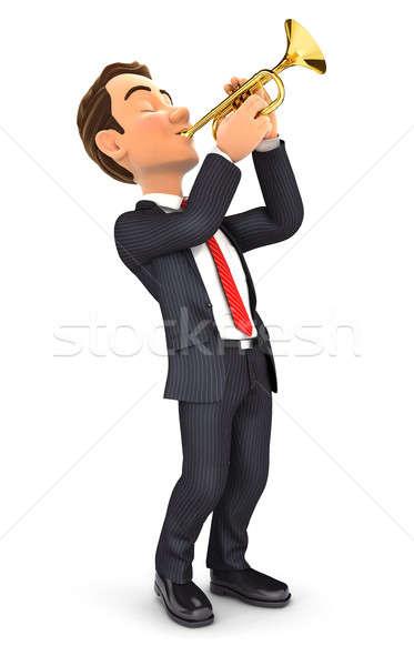 3d businessman playing trumpet Stock photo © 3dmask