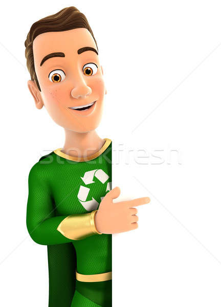 3D zöld hős mutat helyes fal Stock fotó © 3dmask