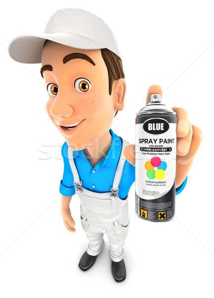 3D pintor pintura en aerosol botella ilustración Foto stock © 3dmask