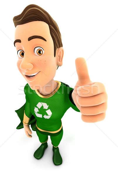 3D yeşil kahraman pozitif poz başparmak Stok fotoğraf © 3dmask