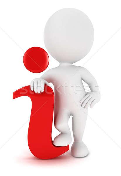 3D pessoas brancas informações ícone vermelho isolado Foto stock © 3dmask