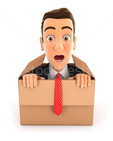 3d businessman coming out of the box Stock photo © 3dmask