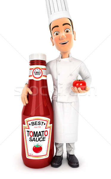 3d head chef standing next to tomato sauce bottle Stock photo © 3dmask