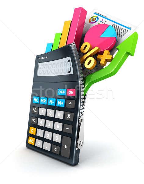 3D otwarte Kalkulator odizolowany biały obraz Zdjęcia stock © 3dmask