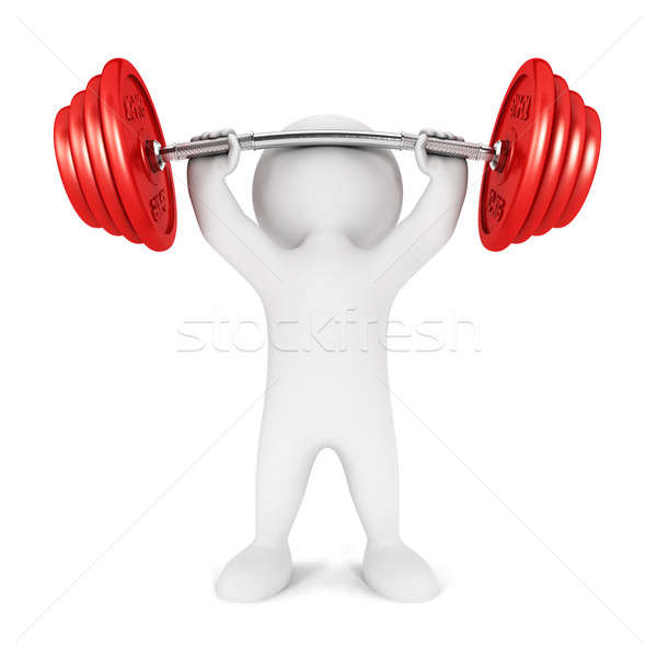 3d white people weightlifting Stock photo © 3dmask