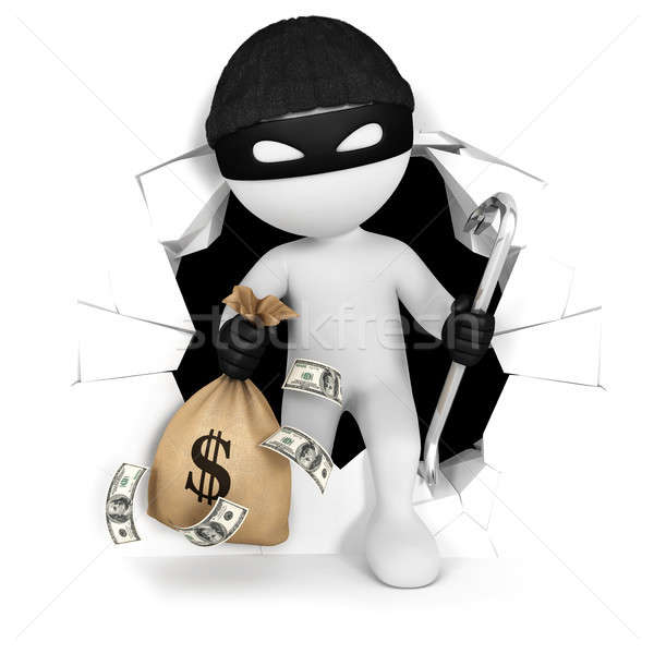 3d white people thief with money Stock photo © 3dmask