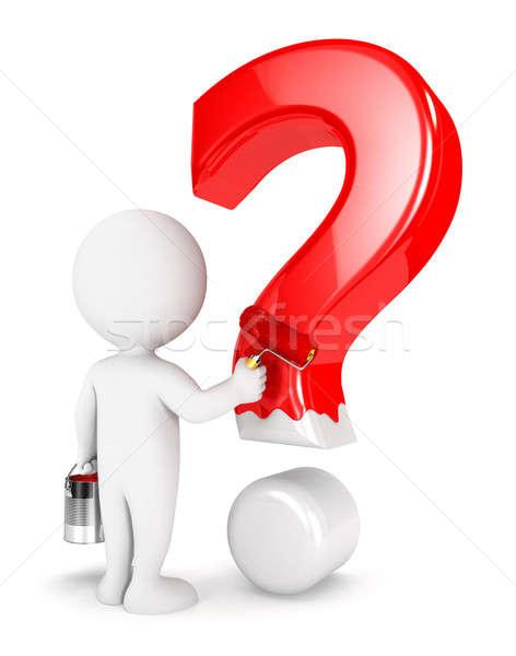 3D белые люди Живопись вопросительный знак изолированный белый Сток-фото © 3dmask