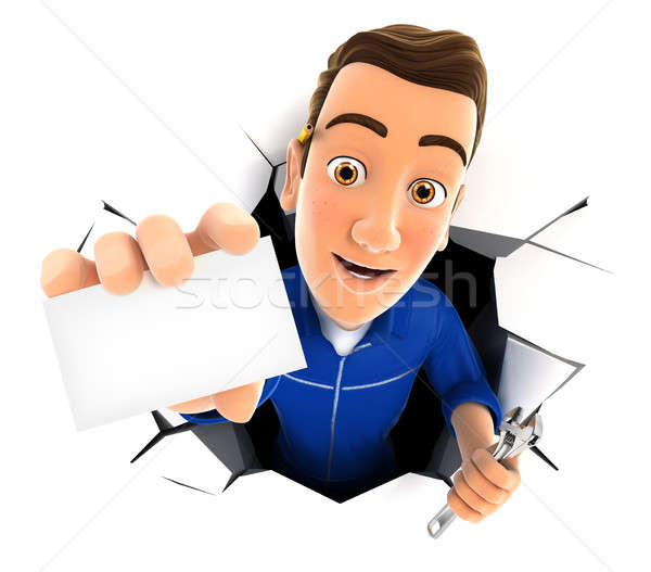 3d mechanic coming out through a wall with company card Stock photo © 3dmask