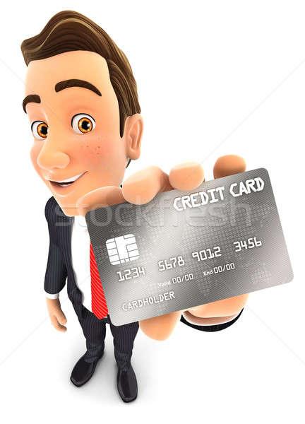 Stock fotó: 3D · üzletember · hitelkártya · tart · izolált · fehér
