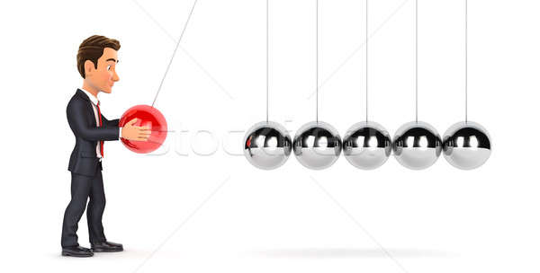 3d businessman playing with newton cradle Stock photo © 3dmask