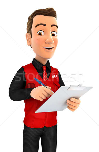 3d seller writing on notepad Stock photo © 3dmask