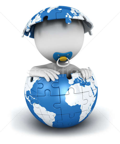 3d white people baby inside puzzle earth Stock photo © 3dmask