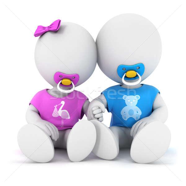 Foto stock: 3D · pessoas · brancas · irmão · irmã · isolado · branco