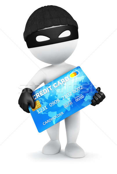 Stock photo: 3d white people thief with a credit card