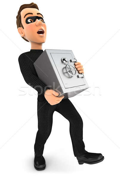 3d thief holding heavy bank safe Stock photo © 3dmask
