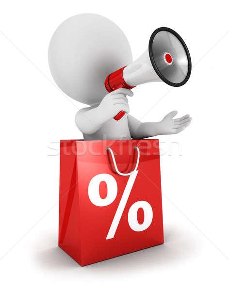 3D witte mensen verkoop aankondiging megafoon binnenkant Stockfoto © 3dmask