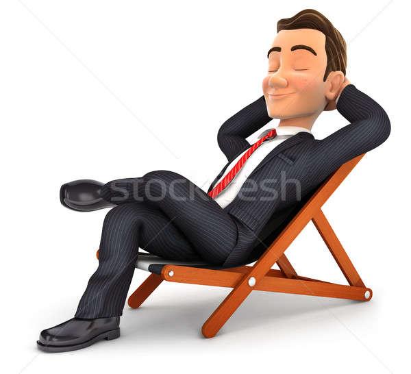 3D empresário relaxante convés cadeira ilustração Foto stock © 3dmask