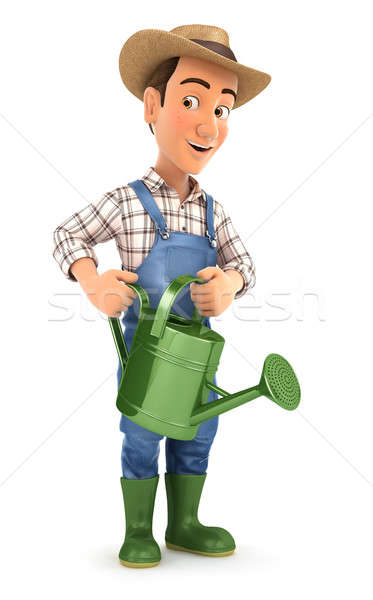 3d farmer holding watering can Stock photo © 3dmask