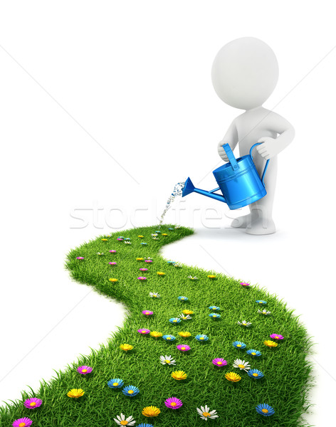 Stock photo: 3d white people is watering a grass path