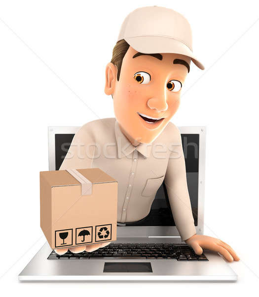 3d delivery man coming out of laptop with package Stock photo © 3dmask