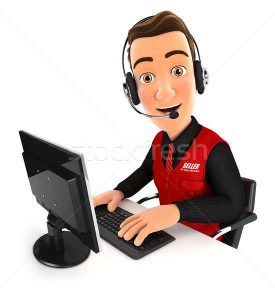3D vendedor call center ilustração isolado branco Foto stock © 3dmask