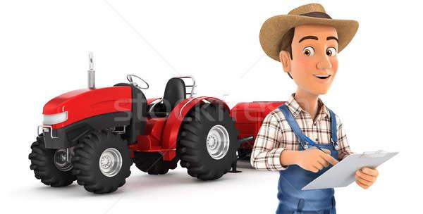 3D фермер блокнот трактора иллюстрация изолированный Сток-фото © 3dmask