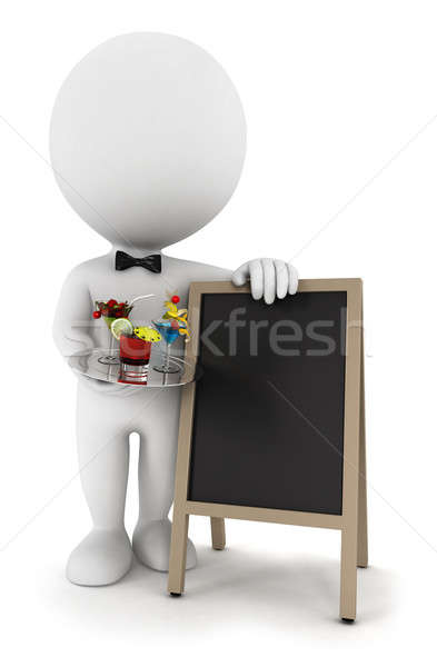 Stock photo: 3d white people waiter with cocktail and blackboard