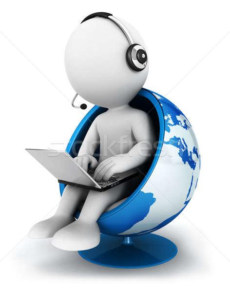 3D blancs mondial gestionnaire assis monde Photo stock © 3dmask