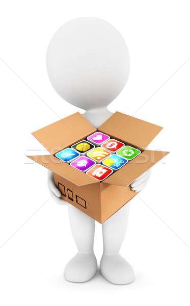 3D beyaz insanlar kutu uygulamaları yalıtılmış Stok fotoğraf © 3dmask