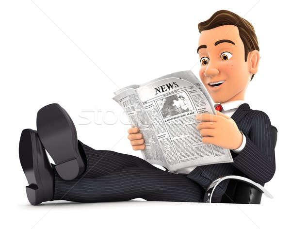 3d businessman reading newspaper with feet on desk Stock photo © 3dmask