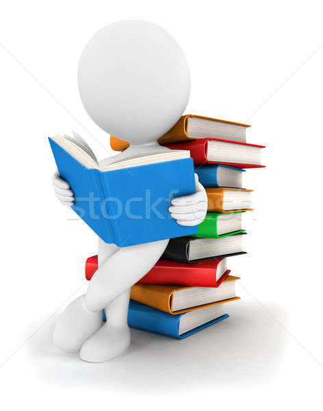 3d white people reads a book Stock photo © 3dmask