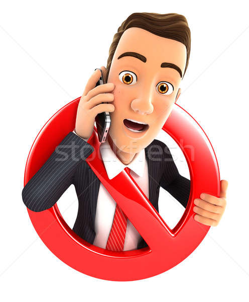 3d businessman on phone surrounded by a forbidden sign Stock photo © 3dmask