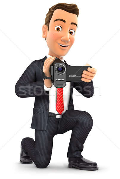 3d businessman filming with video camera Stock photo © 3dmask