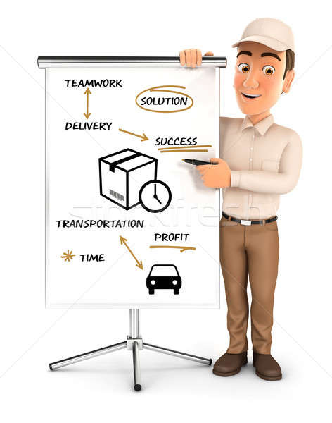 3d delivery man writing on paperboard Stock photo © 3dmask