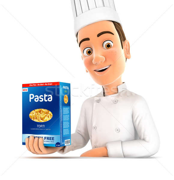 3D hoofd chef presenteren pack pasta Stockfoto © 3dmask