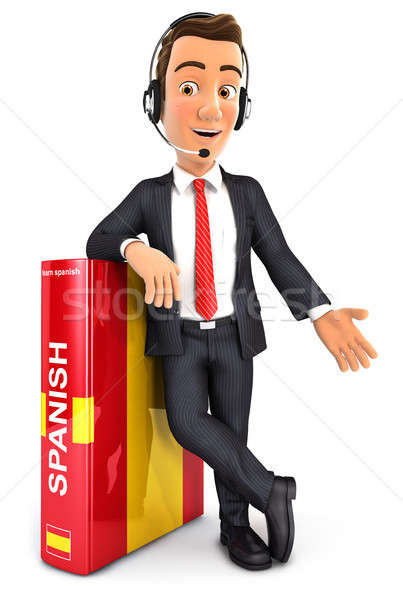 3d businessman learning spanish Stock photo © 3dmask