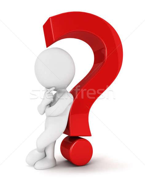 3D fehér emberek hátradőlő kérdőjel piros izolált Stock fotó © 3dmask