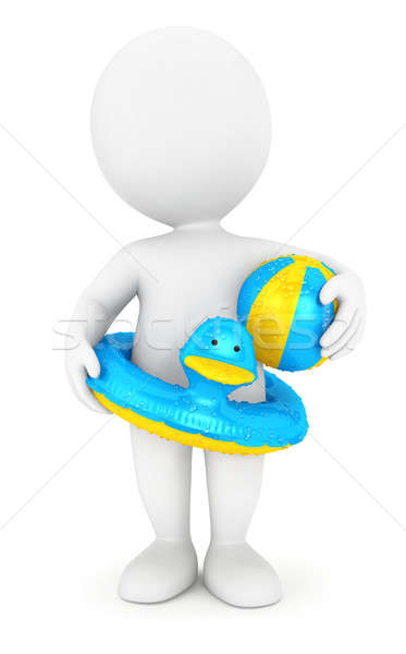 3d white people with a swim ring and a ball Stock photo © 3dmask