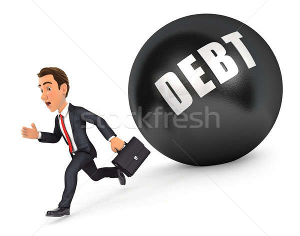 3d businessman running in front of debt Stock photo © 3dmask