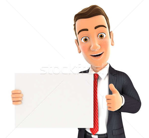 3d businessman holding placard with thumb up Stock photo © 3dmask