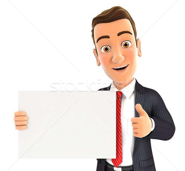 3D üzletember tart plakát hüvelykujj felfelé Stock fotó © 3dmask