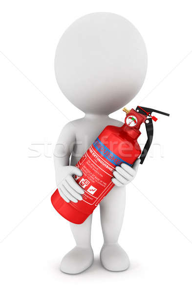 3d white people with an extinguisher Stock photo © 3dmask