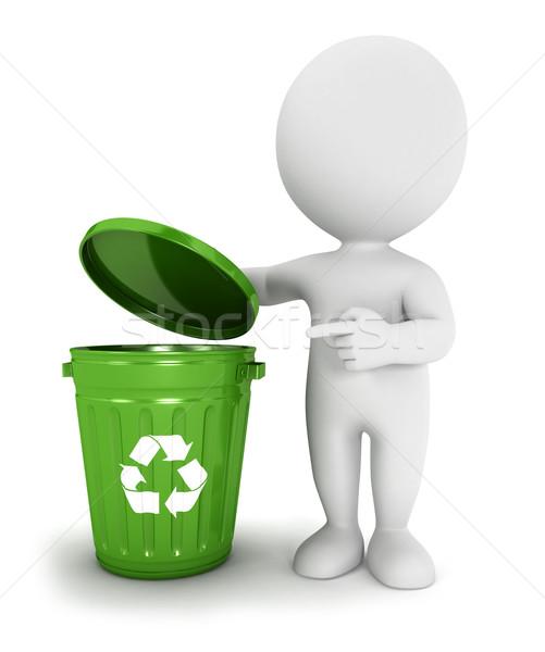 3D blancs recycler poubelle vert isolé Photo stock © 3dmask